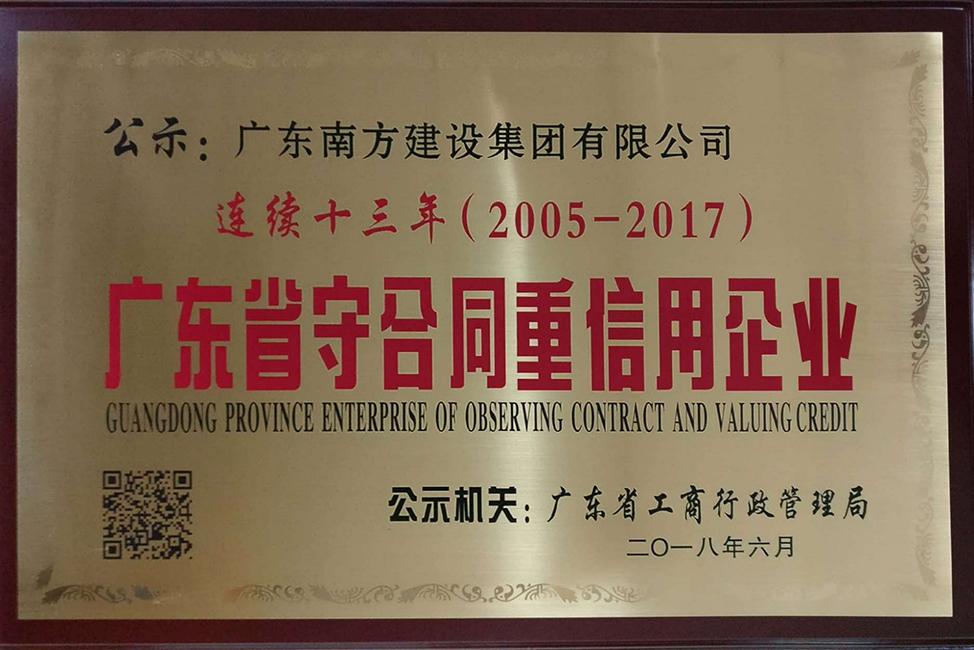 新万博体育登录官网-连续十三年(2005-2017)广东省守合同重信用企业-牌匾